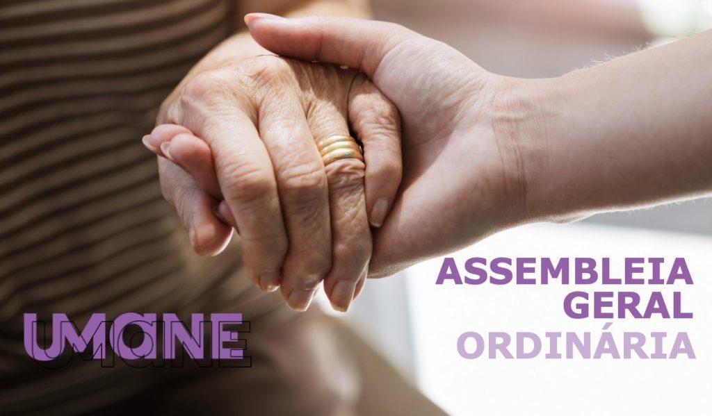 ao centro uma mão de um jovem segura a mão de uma senhora e tem o escrito assembleia geral ordinária no canto direito inferior